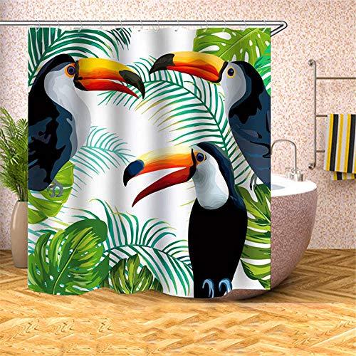 wangguifu Duschvorhang-Farbe Tukan Umweltfreundliches Polyestergewebe Antibakteriell Leicht Zu Reinigen Wasserdichter Vorhang Enthält 12 Duschhaken 180x200cm 72x80in