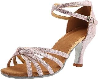 20db47b979a6 VESI Zapatos de Baile Latino de Tacón Alto/Medio para Mujer Rosa 37(Tacón