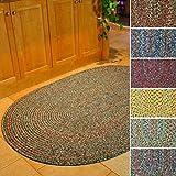 Sonya Indoor/Outdoor Oval Reversible Braided Rug, 3 by 5-Feet, Brown Multicolor