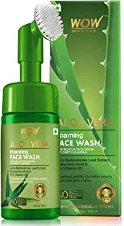 WOW Skin Science Aloe Vera Foaming Face Wash with Built-In Face Brush for deep cleansing - No Parabens, Sulphate, Silicones & Color - 100mL