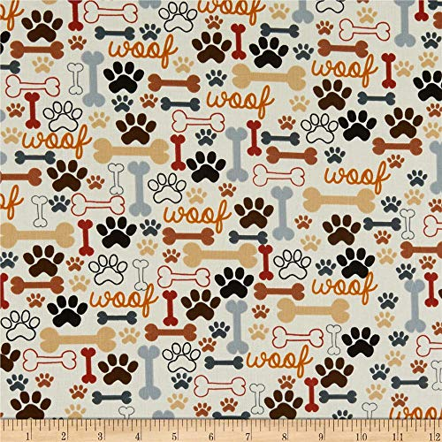 Timeless Treasures Dog Bones & Paw Prints Cream, Quilting Fabric by the Yard