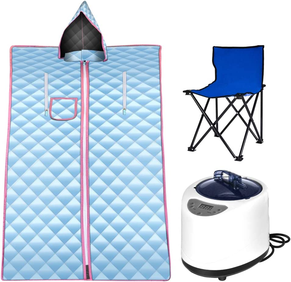 SEAAN Portable Steam Sauna, 2.6L Personal Home Spa, Folding Steam Sauna Room One Person Sauna with Chair, Remote Control, Steam Pot (Blue)