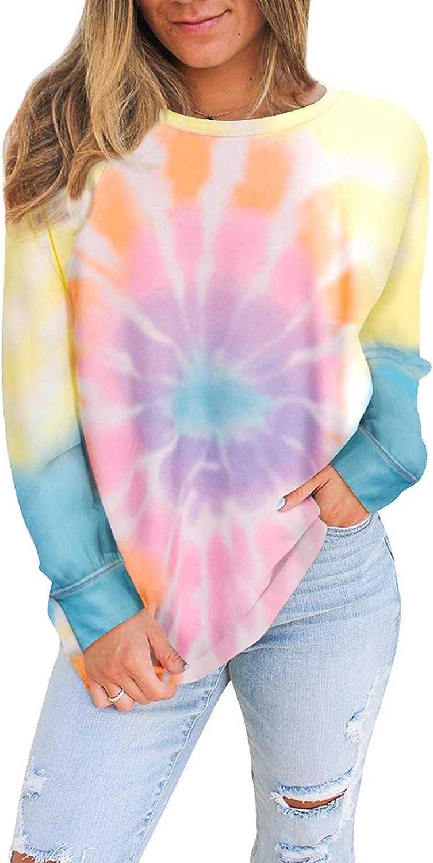 Tanst Sky Women Tie Dye Sweatshirt Long Sleeve Crew Neck Shirt Color Block Loose Pullover Tops