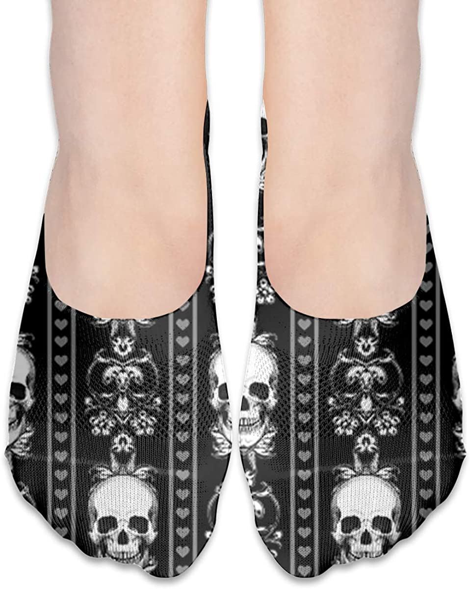 No Show Socks Women Men For Baroque Skull Stripe Gothic Black Flats Cotton Ultra Low Cut Liner Socks Non Slip