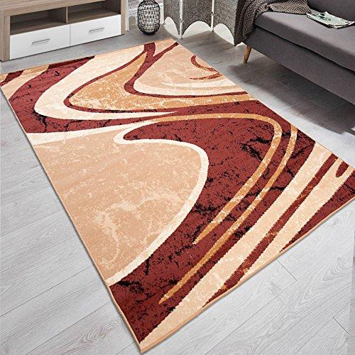Carpeto Designer Teppich Modern Gestreift Wellen Kurzflor Meliert In Braun - ÖKO TEX (200 x 300 cm)