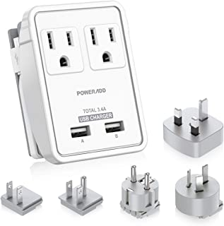 [2nd Gen] POWERADD Travel Adapter Kits - 3.4A USB with AC Outlets + Plugs for UK, US, AU, Europe & Asia, Charge Laptop, Cellphons, Camera - UL Listed