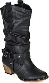 Women Mid-Calf Western Style Rubber Sole Cowboy Boots with O-Ring Studded with Distressed PU Upper WD02