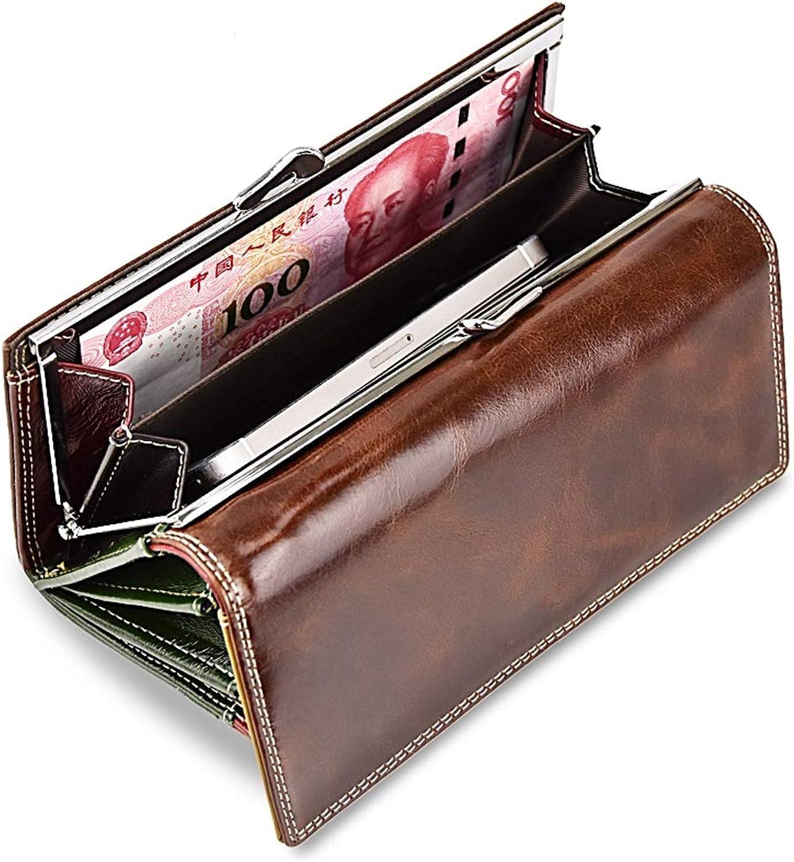 Frauen Öl wachs echtes echtes echtes Leder Brieftasche Lange Brieftaschen Kartenhalter Telefon Geldbörse Weibliche Große Handtasche B07QGDD64N ac0873