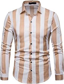 TOOPOOT 2019 Men's Shirt,Long Sleeve Casual Slim Fit Vertical Striped Button Down Dress Shirt