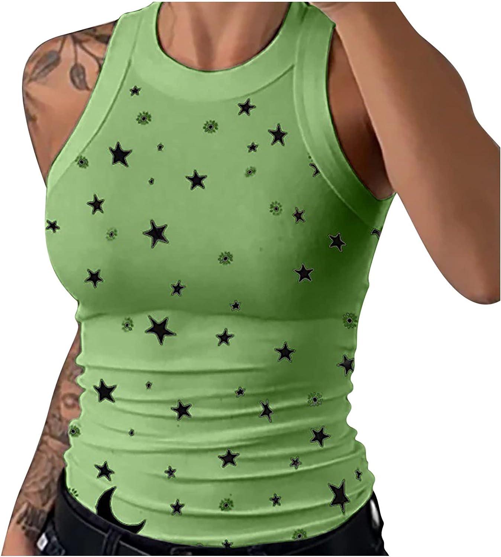 TARIENDY Women Star Print Tank Top Summer Slim Vest Round Neck Sleeveless Shirt Ladies Pullover