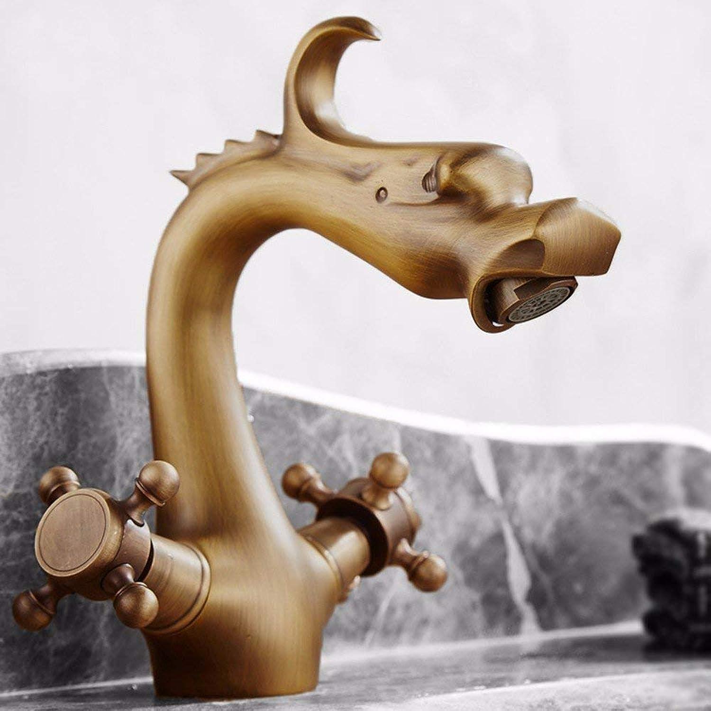 Oudan European Style Retro Style Hot And Cold High Single Hole Washbasin Bathroom Copper Sink Faucet (21  15Cm)