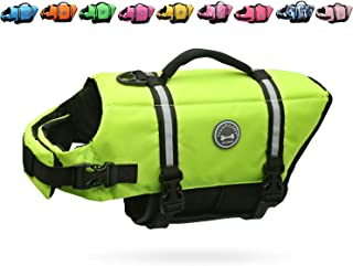 Vivaglory Ripstop Dog Life Jackets, Reflective & Adjustable Preserver Vest with Enhanced Buoyancy & Rescue Handle for Swimming Boating & Canoeing