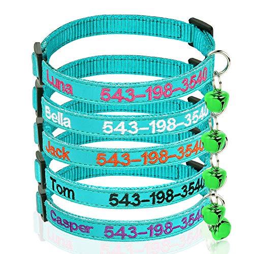 Brillianne Personalisierte Katzenhalsbänder mit Glocke, benutzerdefinierte Sicherheitsschnalle für Katzenhalsbänder, gestickter ID-Name am Kätzchenhalsband mit Glocke (Teal Blue)