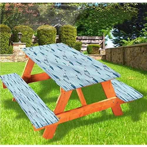 LEWIS FRANKLIN - Mantel ajustable para mesa de picnic y banco de rayas, color azul tortuga y borde elástico acuático, 70 x 72 pulgadas, juego de 3 piezas para mesa plegable