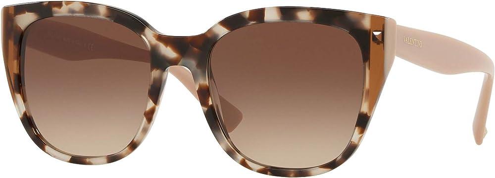 Valentino, occhiali da sole per donna, ovali, montatura in acetato leggero beige tartaruga / marrone sfumato VA4040 509713
