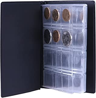 Whitelotous 120 Coin Storage Collecting Holders Penny Pockets Money Album Book (Blue)