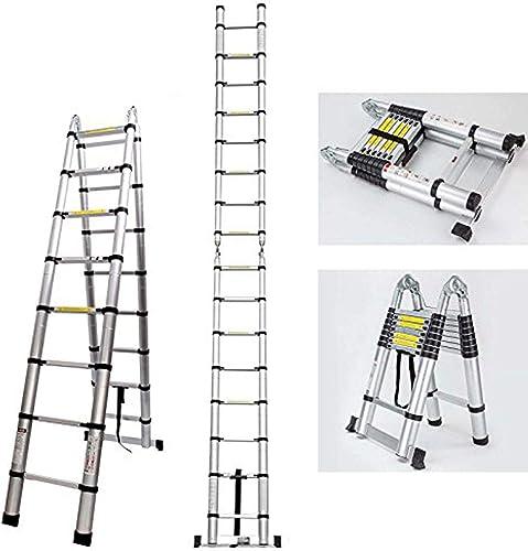 new arrival Bowoshen Telescopic outlet sale Ladder 16.5ft A-Frame Folding Extension popular Aluminium Portable Multi-Purpose Ladder for Home Loft Office 330lb Load Capacity outlet online sale