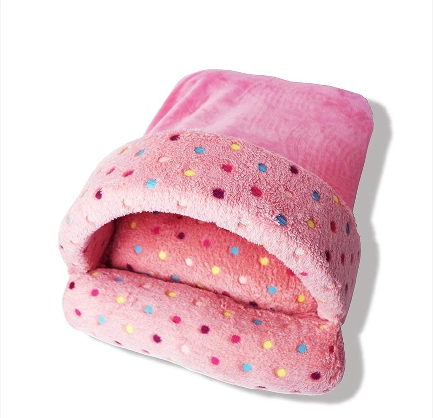 IANXI Home Thick Soft Yurts Tent Pet Nest Autumn Warm Waterloo Dog Bed Cat Bed Mat(color   Pink, Size   L) for Cat Dog
