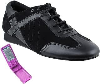 Very Fine Ballroom Latin Tango Salsa Dance Shoes for Men SERO106BBX Flate Heel + Foldable Brush Bundle - Black Leather-Black Suede - 10.5