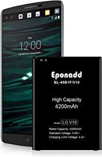 Eponadd LG V10 Battery, 4200mAh BL-45B1F Li-Ion Spare Battery Replacement for LG V10 H900 AT&T VS990 Verizon H901T-Mobile ...