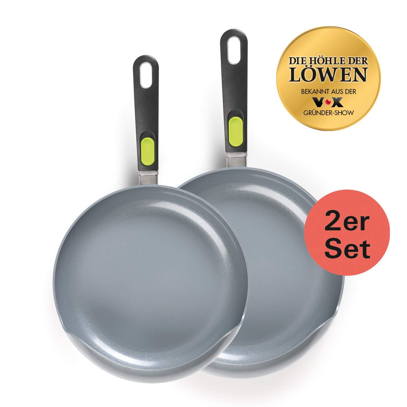 Easy Pan Green Edition Juego de 2 sartenes giratorias, mango extraíble, revestimiento de cerámica con efecto