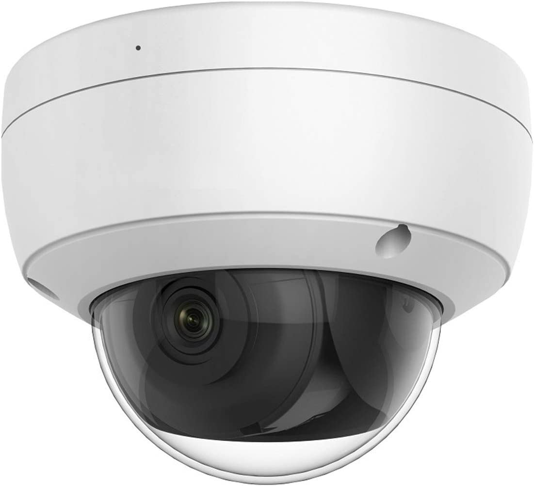 4MP Outdoor PoE IP Camera with 2.8mm Fixed Lens, Dome Security Camera with EXIR 98ft Night Vision, Built-in Mic,128GB SD Card Slot, IP66 IK10 H.265+ WDR VCA (HS-ED04G0-IA)