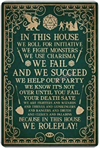 Bit SIGNSHM in This House We Roll for Initiative We Roleplay Retro Metal Tin Sign Plaque Poster Wall Decor Art Shabby Chic Gift Suitable 12x8 Inch