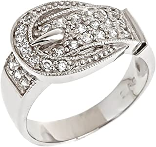 Sterling Silver CZ Buckle Ring
