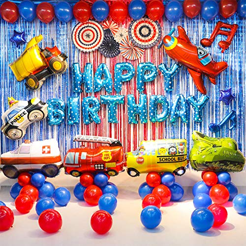 Transportation Party Supplies Vehicle Balloons Set(Truck Ambulance Police Car School Bus Fire Truck Tank Jet Balloons) Birthday Party Decorations for Boys Free Air Pump and Tape Included