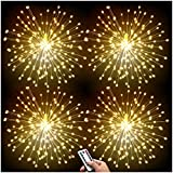 DenicMic 4 Pack Led Copper Wire Firework Lights: 8 Modes Dimmable Remote Control Waterproof Hanging Ceiling Starburst Fairy Star Sphere Lights for Patio Party Wedding Christmas Decorations(Warm White)