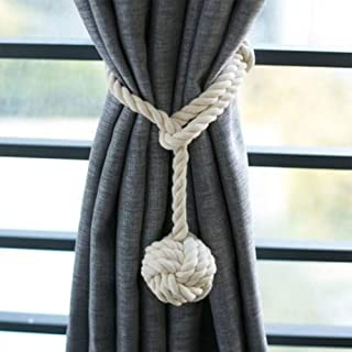 1 Paire D'embrasses de Rideaux en Corde de Coton Embrasse à Rideaux Pompon Tricot avec Une Boule Faits Main Corde en Coton...