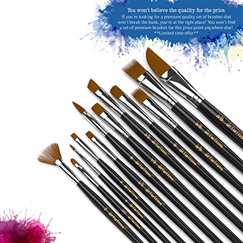 Paint Brush (Set of 12) - Premium Nylon Brushes for Watercolor, Acrylic & Oil Painting   Perfect For Painting Canvas, Ceramic, Clay, Wood & Models - Let Artistrove Brushes Bring Your Painting to Life! Photo #5
