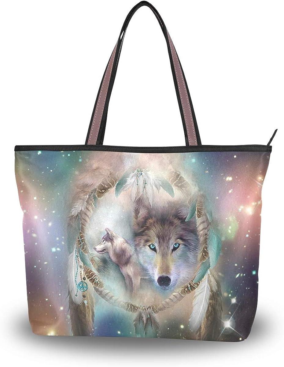 Women's Tote Shoulder Bag Wolf Galaxy Dreams Peace Hobo Top Handle Bags Shopper Carolie Handbag