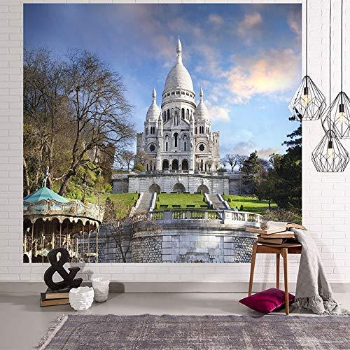 KHKJ The Building Scenic Impresión en 3D Tapiz Colgante de Pared Tapiz de Pared psicodélico Decoración de Pared Colcha Estera de Yoga Paño de Picnic A2 150x130cm