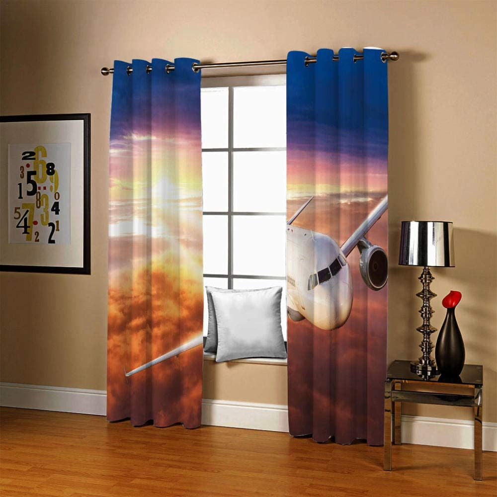 ZCLCHQ Kids Curtains YellowAircraft Living Bedroom Seasonal Wrap Introduction Factory outlet Window Room