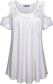 MOQIVGI Womens Fashion Casual Scoop Neck Cold Shoulder Floral Lace Patchwork Blouse Tops