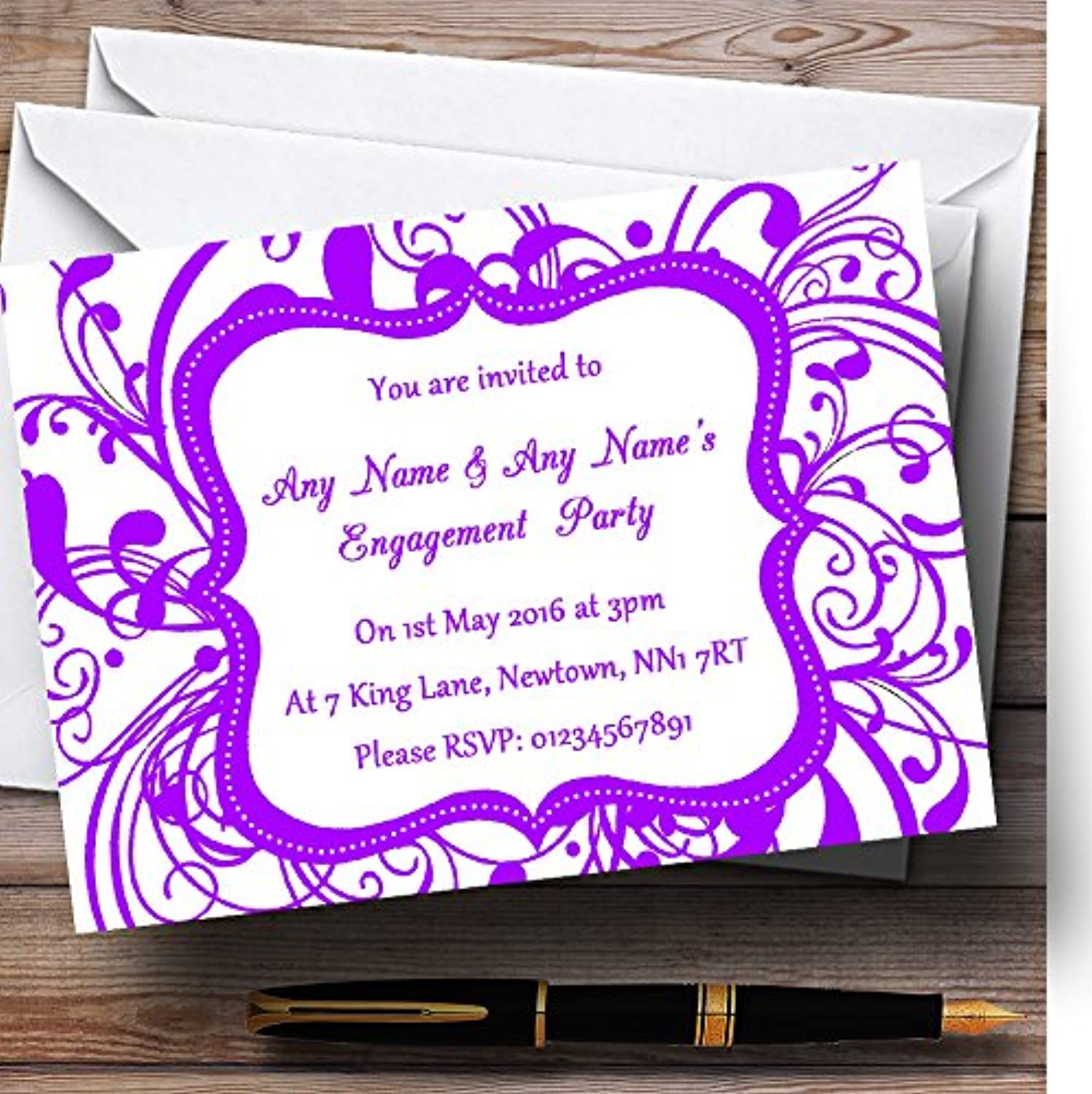 White & Purple Swirl Deco Personalised Engagement Party Invitations   Invites & Envelopes
