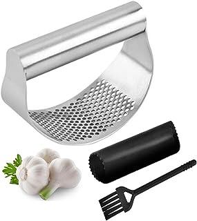 Prensa de ajos de jengibre – Trituradora de ajo de acero inoxidable 430 + pelador de ajo de silicona + cepillo de limpieza...