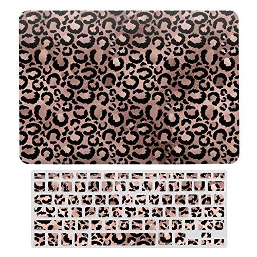 Para MacBook Air 13 13 pulgadas caso A1466, A1369 cubierta de carcasa rígida para MacBook Air 13 caso y cubierta de teclado, oro rosa leopardo impresión imitación hoja protectora portátil