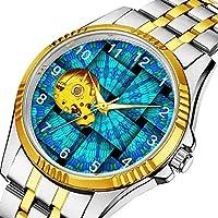 時計、機械式時計 メンズウォッチクラシックスタイルのメカニカルウォッチスケルトンステンレススチールタイムレスデザインメカニ (ゴールド)-068. 抽象織りパターン