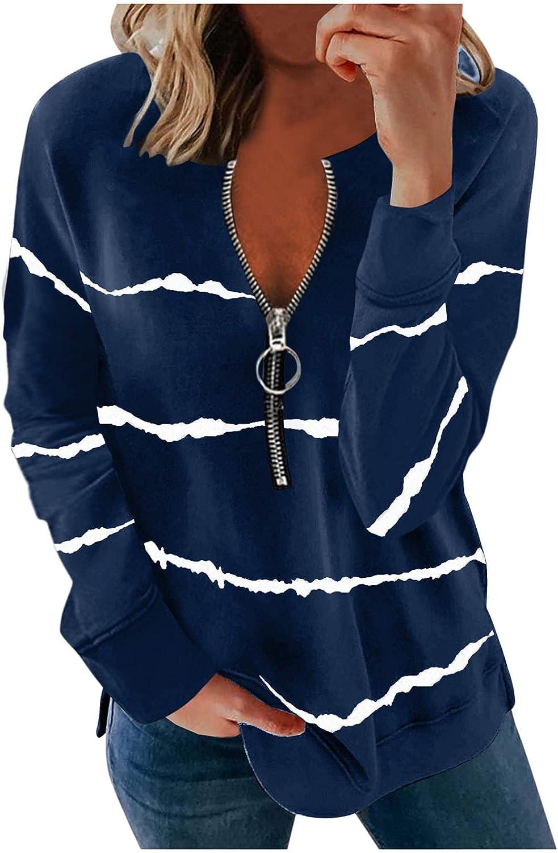 FABIURT Sweatshirts for Women Casual Striped Printed Long Sleeve Loose Pullover Sweatshirt V Neck Tee Blouse Tunic Tops