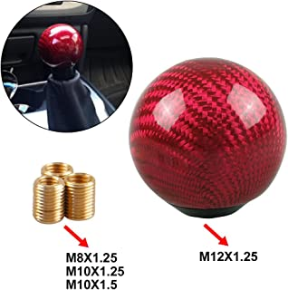 RYANSTAR Universal Shift Knob Gear Shifter Knobs with 3 Adapters Shifter Level Stick Carbon Fiber Style Round Ball Red