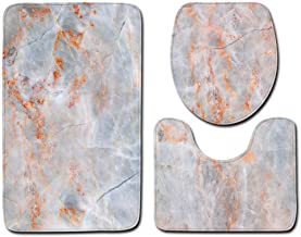ESUPPORT Marble Texture Bath Rug Set 3 Piece Non Slip Bathroom Mats, Toilet Lid Cover, U Shaped Contour Rug Carpet Soft Ba...