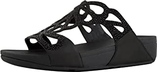 FITFLOP Women's Bumble Crystal Slide Sandals (Black,10B)