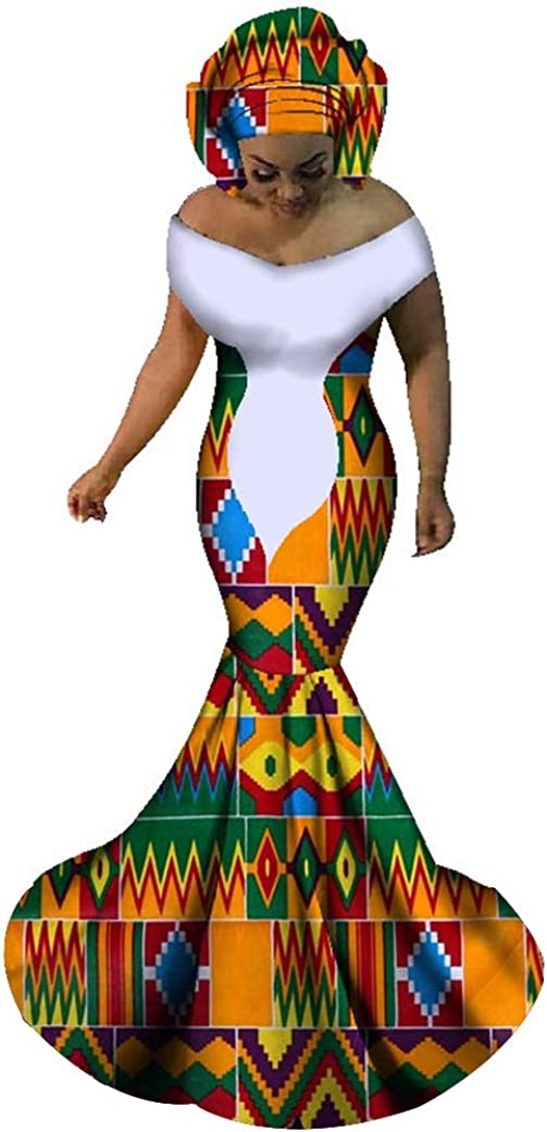 HITARGET Women's Mermaid Sequined Dress African Dashiki Dress Traditional Printing Party Dress with Headwrap