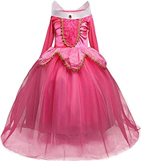 Fancy Dress, Girls' Princess Belle Costumes Princess Dress Up Halloween Costume Dress for Gilrls Age 4-9 Year (5 Years) Pink