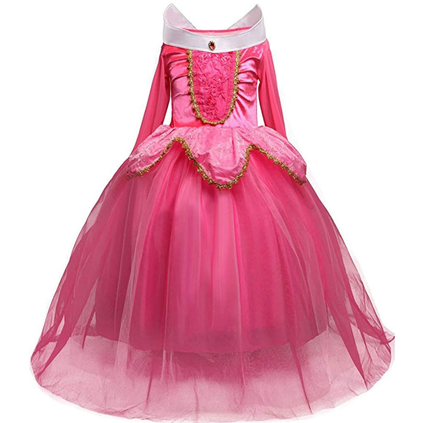 Fancy Dress, Girls' Princess Belle Costumes Princess Dress Up Halloween Costume Dress for Gilrls Age 4-9 Year (4 Years)