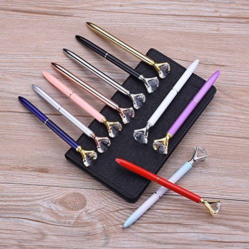 Crystal Diamond Pen 12PCS Crystal Diamond Pen Bling Bling Metal Ballpoint Pen for School Office 12 Different Colors With 12 Pack 3.2'' Ballpoint Pen Refills (12 Crystal Diamond Pen) Photo #6
