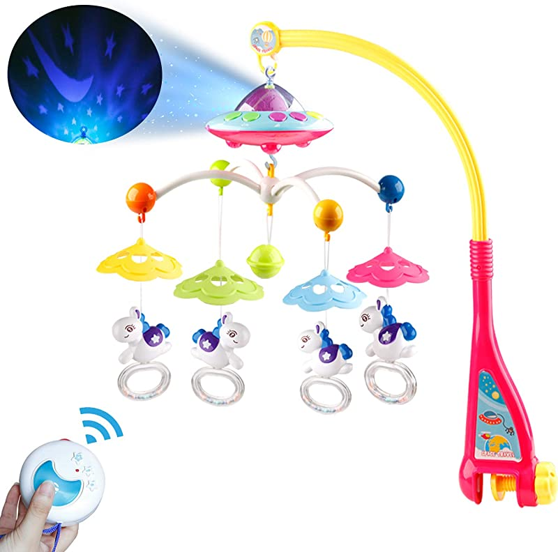 Baby Musical Crib Mobile With Projector Function Hanging Rotating Rattles And Remote Control Music Box With 108 Melodies Toy For Newborn 0 24 Month
