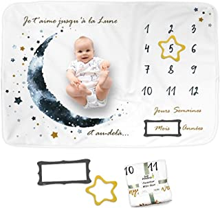 Couverture Bébé Photo Mensuelle en FRANÇAIS, Tapis Mois Bébé, Cadeau Naissance Garçon, Carte Etape Bébé, Cadeau Naissance ...